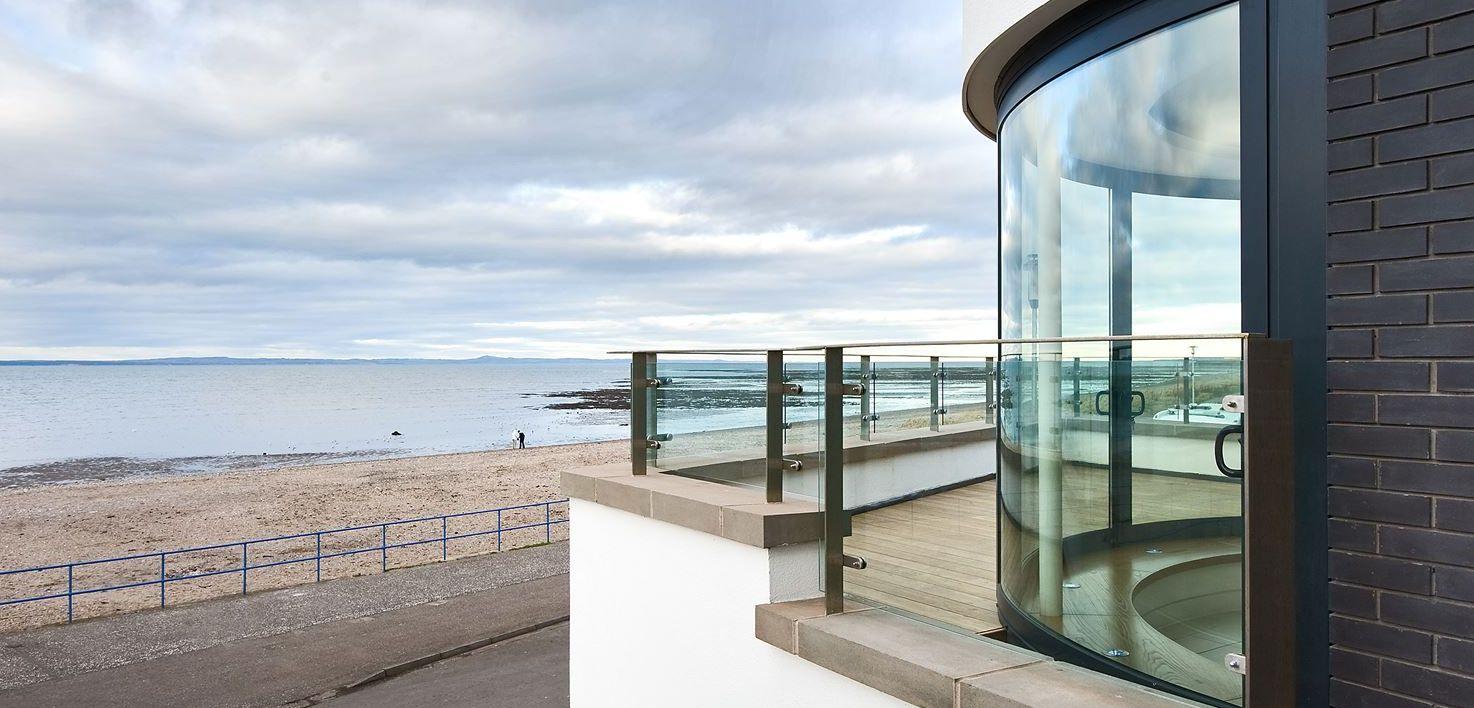 Glass Curved Door Balcony