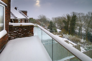 Glass Balustrade in Snow