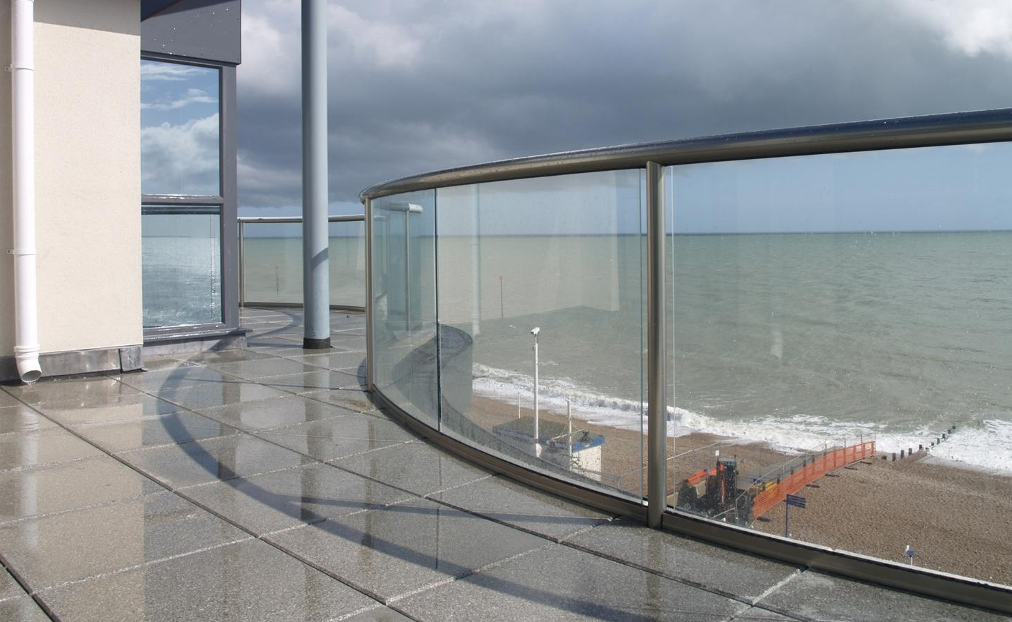 glass balcony on the sea