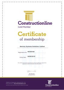 Constructionline Gold certification - Balcony Systems Solutions