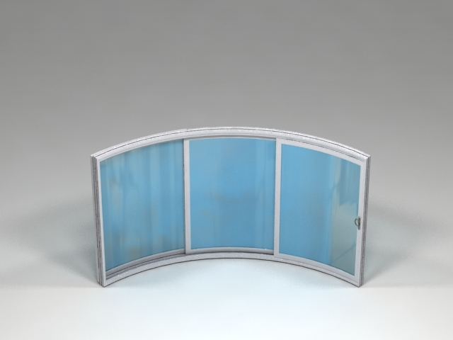 3 sections curved glass doors
