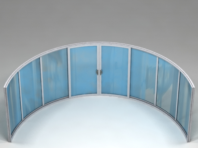 8 sections curved glass doors